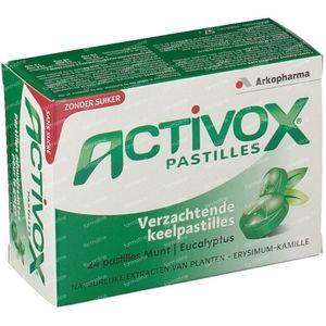 Activox Pastilles Menthe-Eucalyptus Sans Sucre 24 comprimés à sucer