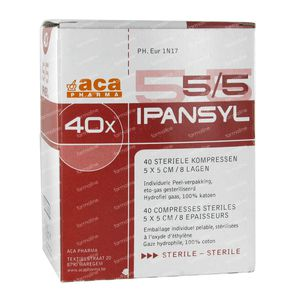 Ipansyl Compress Sterile 8 Layers 5 x 5Cm 40 pieces