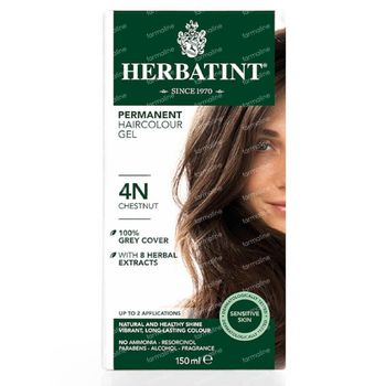 Herbatint 4N Châtain – Coloration Permanente Végane 100% Bio – aux 8 Extraits de Plantes 150 ml