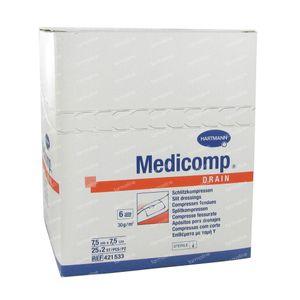 Hartmann Medicomp Drain Steriel Kompres 6 Lagen 7.5 x 7.5cm 421533 50 stuks