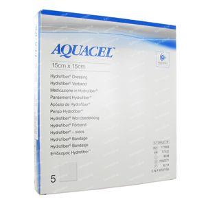 Aquacel Pansement Hydrofiber Sterile 15cm x 15cm 5 pièces
