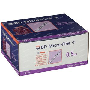 BD Microfine+ Insulin Syringe 0.5ml 30g 8mm 100 pieces