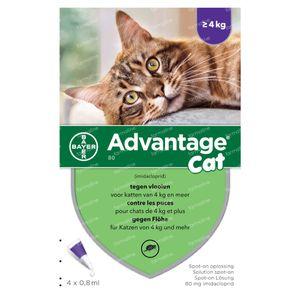 Advantage 80 Spot-On Solution Chat >4kg 4x0,8 ml