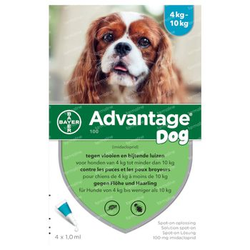 Advantage 100 Spot-On Solution Chien 4 < 10 kg 4x1,0 ml