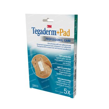 3M Tegaderm + Pad Transparant Filmverband Met Absorberend Kompres 9cm X 10cm 3586P 5 stuks