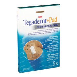 3M Tegaderm + Pad Transparant Filmverband Met Absorberend Kompres 9cm X 15cm 3589P 5 stuks