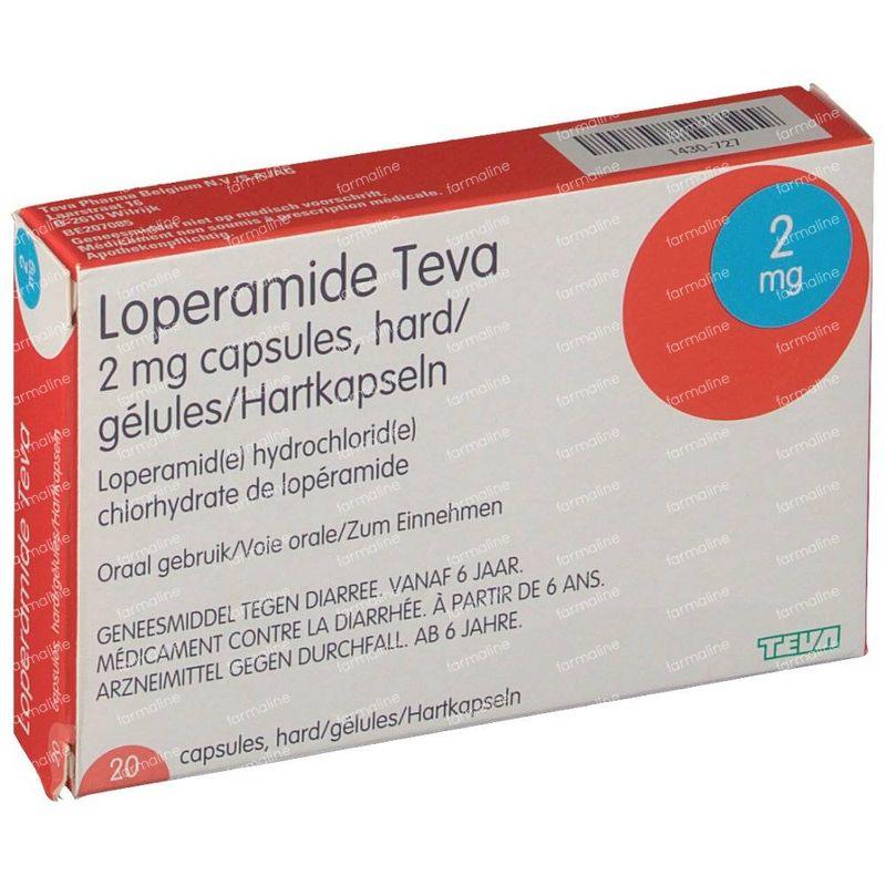 Loperamide Teva 2mg 20 Capsules Hier Online Bestellen Farmalinebe