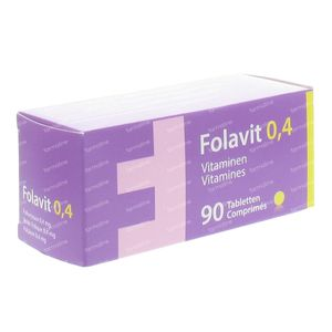 Folavit 0.4mg Foliumzuur 90 tabletten