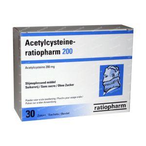 Acetylcysteïne Ratiopharm 200mg 30 zakjes