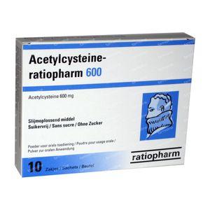 Acetylcysteïne Ratiopharm 600mg 10 zakjes