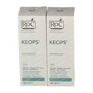 RoC Keops Deodorant Stick Verlaagde Prijs 2x40 ml stick
