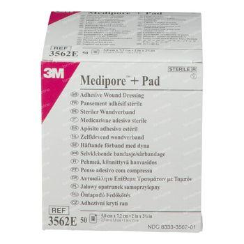 3M Medipore + Pansement Stérile avec Compresse Absorbante 5cmx7,2cm 50 st