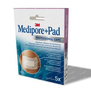 3M Medipore + Pad Surgical Tape Met Absorberend Kompres 5cmX7,2cm 5 stuks