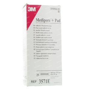 3M Medipore + Pad Adhesief Wondverband 10 x 25cm 3571E 25 St