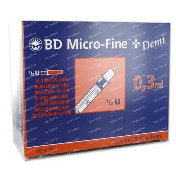 Wegwerpspuit 0,3 ml Bd Naald 30g Insuline 324826/320837 100 st