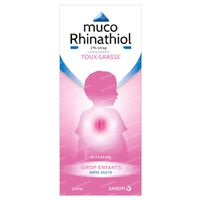 Muco Rhinathiol 2% - Sirop Sans Sucre, Enfants, Toux Grasse Persistante 200 ml sirop