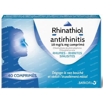 Rhinathiol Antirhinitis 10mg/4mg - Rhumes 40 comprimés