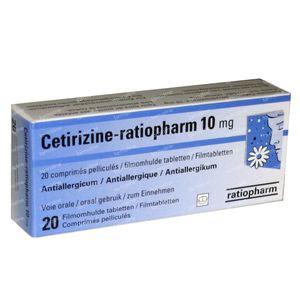 Cetirizine Ratiopharm 10mg 20 tabletten