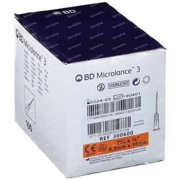 BD Microlance 3 Aiguilles 25G 5/8 RB 0,5x16 Mm 100 pièces