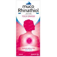 Muco Rhinathiol 5% - Sirop Sans Sucre, Adultes, Toux Grasse Persistante 250 ml sirop