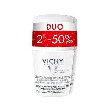 Vichy Déodorant Peau Très Sensible Ou Epilée Duo Promo 2x50 ml rouleau