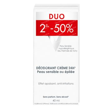Vichy Déodorant Peau Sensible Ou Epilée 24u Promo Duo 2x40 ml crème