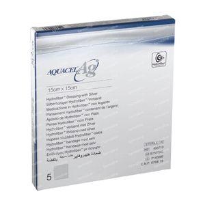 Aquacel Ag Verband Hydrofiber Steriel 15cm x 15cm 5 stuks