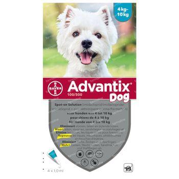 Advantix 100/500 Spot-On Solution Chien 4<10kg 4x1,0 ml