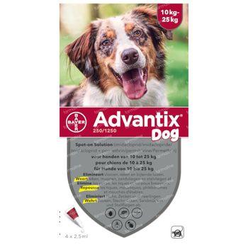 Advantix 250/1250 Spot-On Solution Chien 10<25kg 4x2,5 ml