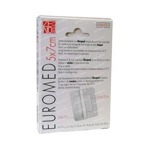 Euromed 5cm x 7cm Eilandpleister Steriel 5 St