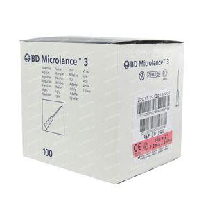 BD Microlance 3 Wegwerpnaalden 18g 1,2mm x 50mm ref 301900 100 stuks