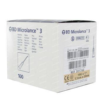 BD Microlance 3 Aiguille 19g 1 1.1mm x 25mm 100 pièces