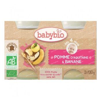 Babybio Ecuadoriaanse Banaan en Appel – 100% Biologische Babyvoeding – Vruchtenmoes – Vanaf 4 Maanden 2x130 g