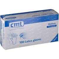 CMT Handschoenen Latex Wit PF Medium 100 st