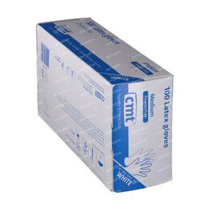 CMT Gants Latex Blanc PF Medium 100 pièces