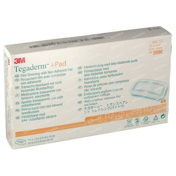 3M Tegaderm + Pad Transparant Filmverband met Absorberend Kompres 9cmx20cm 25 stuks