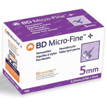 BD Microfine+ 5 mm Pennaald 0,25mm – 31G 100 stuks