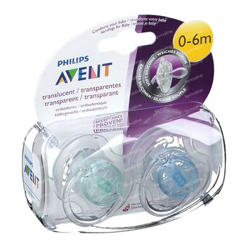Avent Fopspeen Transparant Silicoon 0-6M 2 st