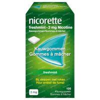 Nicorette® Freshmint Kauwgom 2mg - bij Stoppen met Roken 105  kauwgoms
