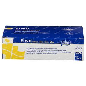 Elwo Pansement Elastique Bleu 2.5cm x 18cm 60 pièces