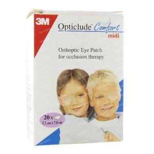 3M Opticlude Comfort Cerotto di Occhio Midi 5.3cm x 7cm 20 pezzi