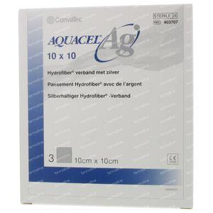 Aquacel Ag Pansement Hydrofiber Sterile 10cm x 10cm 3 pièces