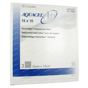 Aquacel Ag Pansement Hydrofiber Sterile 15cm x 15cm 3 pièces