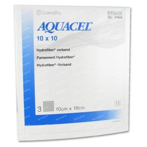 Aquacel Pansement Hydrofiber Sterile 10cm x 10cm 3 pièces