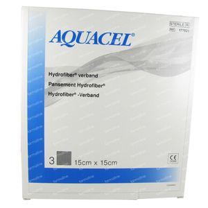 Aquacel Pansement Hydrofiber Sterile 15cm x 15cm 3 pièces