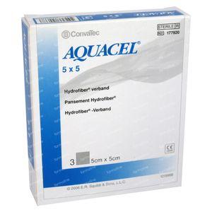 Aquacel Pansement Hydrofiber Sterile 5cm x 5cm 3 pièces