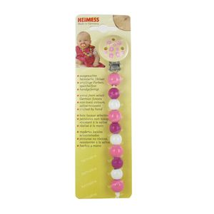 Heimess Pacifier Necklace Wood Pink 1 St