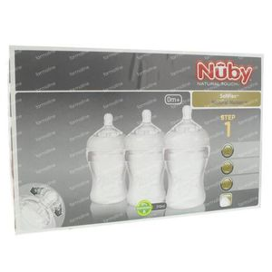 Nuby Zuigfles Silicoon 210 ml 0 Maand + Speen Langzaam 3 St