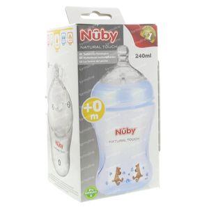 Nuby Suction Bottle Propyleen Blue 240ml + Teat 0 Maand 1 St