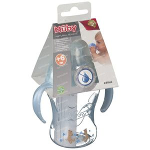 Nuby Cup Propyleen Anti-Leak + 2 Handles Blue 240ml 1 pezzo